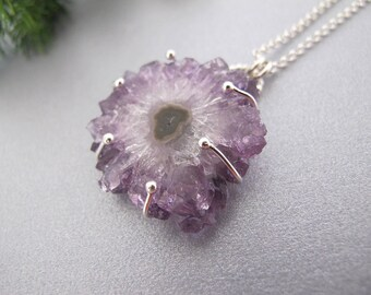 Crystal Necklace, Amethyst Silver necklace, February Birthstone Necklace, Amethyst crystal pendant, Raw amethyst necklace, Amethyst jewelry