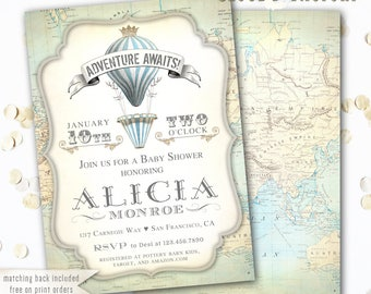 Adventure Awaits Baby Shower Invitation Boy, Hot Air Balloon Baby Shower Invitations, Hot Air Balloon Baby Shower Theme, Vintage Map Crown