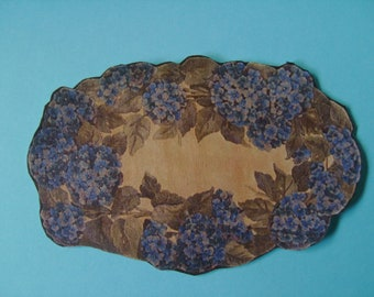 "Dollhouse Miniature Romantic Shabby Chic Blue Hydrangea ""Hooked"" Rug, Scale One Inch"