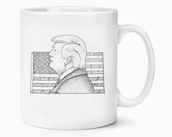 Donald Trump USA President 45 America Flag Stipple Drawing Office Coffee Tea Mug Gift Birthday Conservative Republican