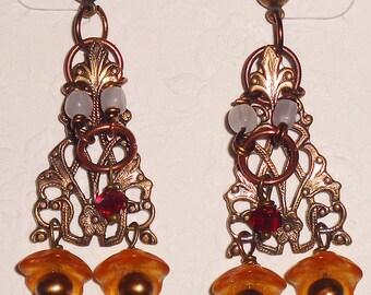 Renaissance Earrings Bronze Antique Chandelier Filigree