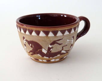 RARE Vintage GREEK Art Pottery Cup-Mug / Glazed Terra Cotta Cup Hand-made and Hand Painted From Greece