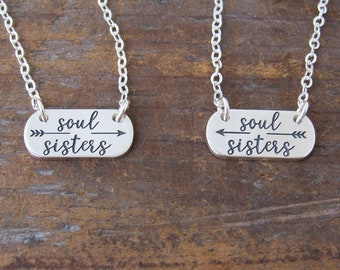 Friendship Necklace, Soul Sisters, Gift for Friend, BFF Necklace, Friendship Jewelry, Long Distance, Petite Necklace, Sterling Silver
