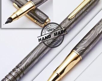 Custom Handmade Crafted Damascus Steel Ink Pen