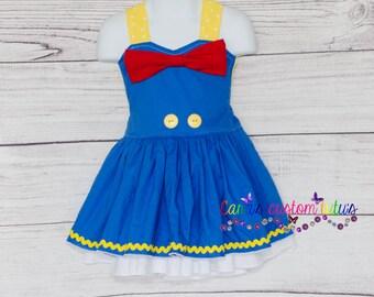 Donald Duck Inspired Dress - Tie Back Dress-  Themed Dress - Donald Duck Birthday - Disney Donald Duck - Donald Duck Party - Disney Dress