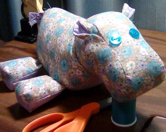 Turquoise floral and Lilac Hippo