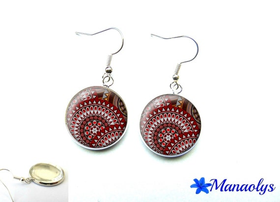 Burgundy and grey patterns 2556 glass cabochons earrings