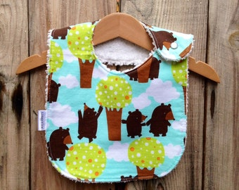 Chenille Baby Bib - Get Together, Bears in the Woods, sea blue