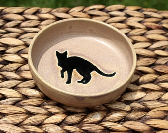 Ceramic CAT Bowl - Cat Food Water Bowl -  Handmade Beige Stoneware Bowl - Black Cat Silhouette - Ready To Ship