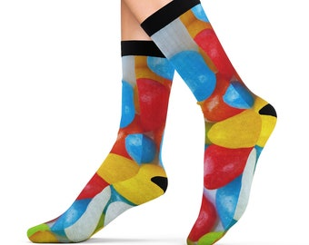 Jelly Beans Candy Treats Printed Sublimation Socks Footwear