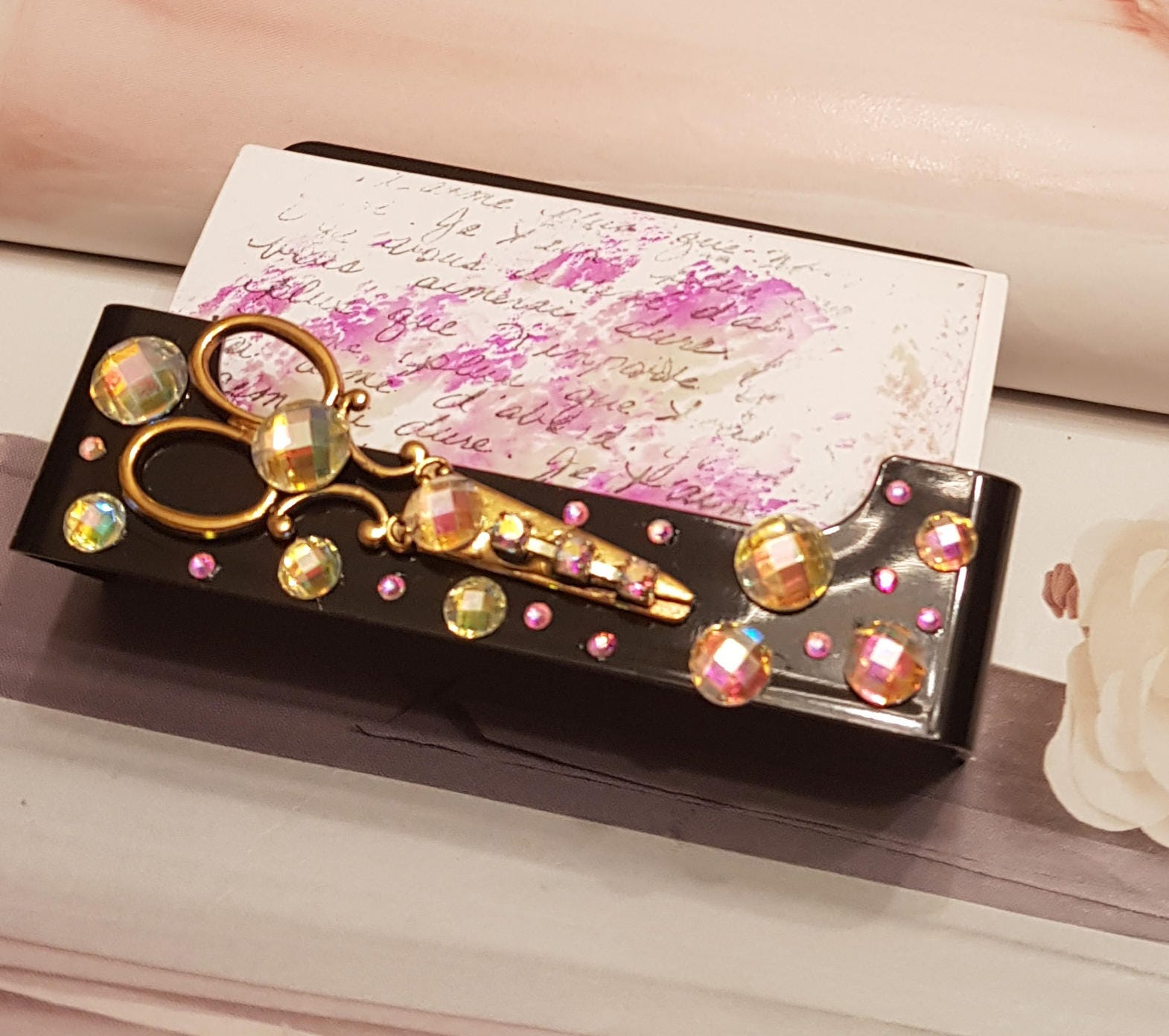 HairStylist Business Card Holder/Gold Bling