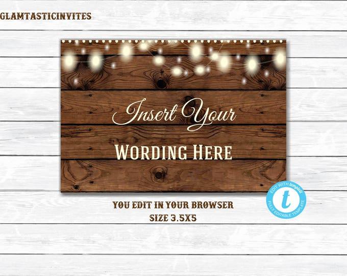 Rustic Insert, Printable, Editable, Rustic Template, Rustic Wedding Insert, You Edit, Rustic, Wood, Digital, Instant Download, Template, DIY