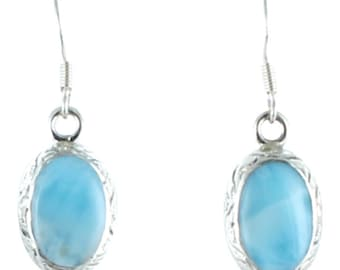 Larimar Oval Earrings Etched Sterling