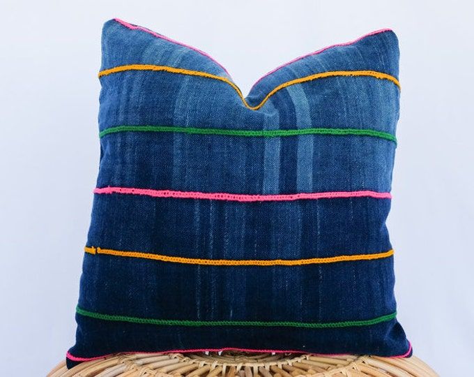 Indigo Mudcloth Pillow Cover with Colorful Embroidered Stripes / 16x16 / Rainbow