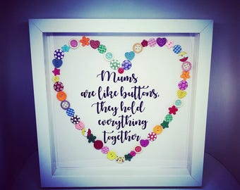 Mum's are like buttons Print with Frame