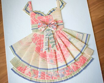 "GRAB BAG Hand Folded Map Dress - 18"" x 24"" - Choose your map! - Nursery Wall Decor Art"