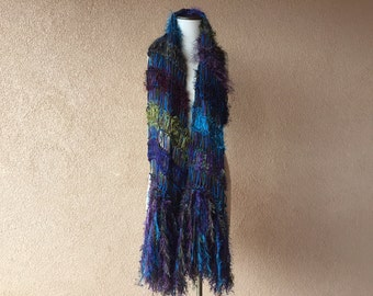 Peacock Scarf Shawl Scarf Extra Wide Scarf, Long Scarf Blue, Green, Teal, Purple Shoulder Wrap. One of a Kind Crickets Maxi Scarf