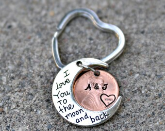 I love you to the moon and back key chain/personalized penny key chain/anniversary gift/boyfriend girlfriend gift/ hand stamped