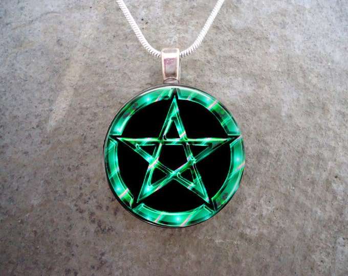 Wiccan Pentacle Jewelry - Glass Pendant Necklace - Black and Turquoise