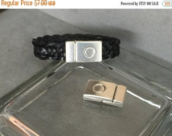 On Sale NOW 25%OFF Strong Magnetic Clasp With Safety Pin For 5mm - 15mm Flat Leather Cord - Antique Silver - C979 - Qty 1