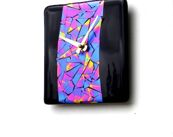 Wall clock, fused dichroic glass, rectangle, black, pink purple blue and yellow mosaic,  hanging wall clock