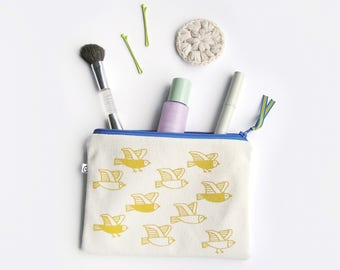 Pencil Case handprinted by Olula, Small zipper pouch, travel sewing kit, make-up pouch, charger case, Yellow birds print zipper pouches