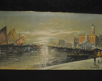 Oil On Canvas  Seascape,City Water Scene Cargo Ships,Ladies, Signed, 24 x 48, PA4082, Shipping Not Free!!!