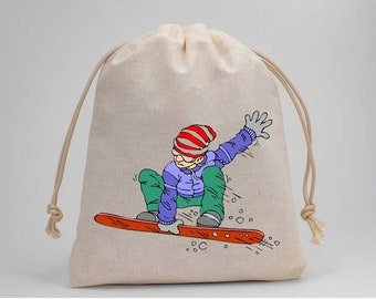 Snowboarding, Snowboard, Birthday Party, Party Bags, Muslin Bags, Candy Bags, Treat Bags, Favor Bags, 5x7, Drawstring Bags, Set of 5