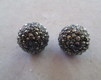 "Silver crystal studded button earrings measures 3/4"" x 3/4"""