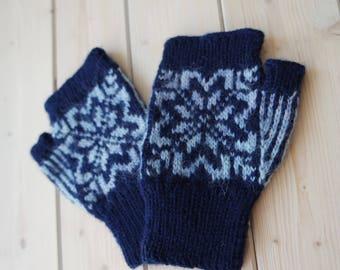Fingerless gloves, Blue Fingerless Mittens, Blue Wool Gloves, Wrist Warmers, Warm Fingerless, Navy Blue Mittens (047)