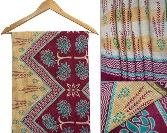 Indian Vintage Traditional Upcycled Long Fabric Sari Craft Fabric Used 100% Pure Cotton Floral Printed Sarong Yellow Drape Saree CS9048