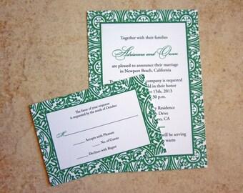 100 - 5x7 Emerald Wedding Invitations