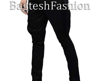 Handmade Mens Black Cotton Baggy Breeches Vintage Jodhpurs