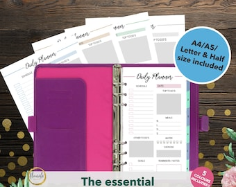 Printable Daily Planner | Daily Planner 2017 Inserts | Planner Pages | Daily To Do List | A4/A5 | Letter/Half size