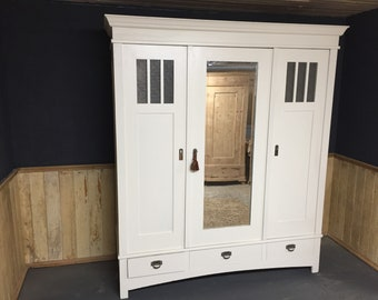 Lovely antique painted pine triple wardrobe