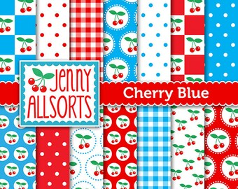 Cherries & Blue Digital Scrapbooking Paper Pack 14 printable pages Instant download, digital paper tags cards invites background papercraft