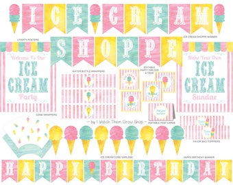 Ice Cream Party Printables Set, Ice Cream Shoppe Party Decorations, Ice Cream Social Party Printables, Ice Cream Party PDF INSTANT DOWNLOAD