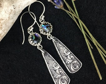 Abalone Feathers sterling silver custom earrings with paisley pattern SRA