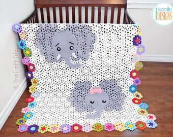 CROCHET PATTERN Josefina and Jeffery Elephant Blanket PDF Crochet Pattern with Instant Download