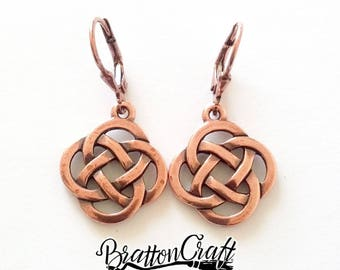 Copper Celtic Knot Earrings - Celtic Earrings - Irish Earrings - Scottish Earrings - Copper Celtic Jewelry
