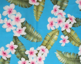 Marianne of Maui Hawaiian Quilting Fabric Sky Blue with Plumeria Clusters New Arrival