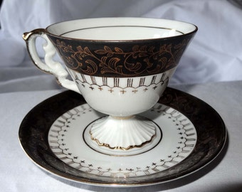 Tea Cup Saucer Original ArnarArt Creation Japan China Black Home and Garden Kitchen and Dining Tableware Drinkware Coffee and Tea Cups