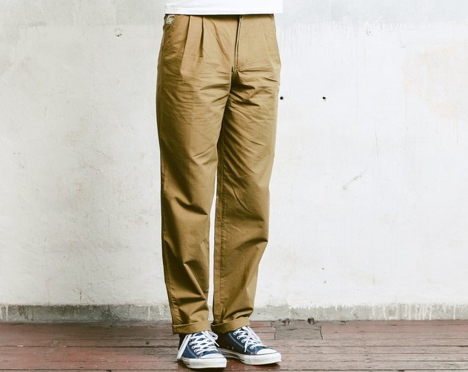 Vintage Brown Chino Pants . Mens 90s Pants Straight Leg Dad Pants Oldschool Chinos Nerd Everyday Clothing Dad Gift . size Small S