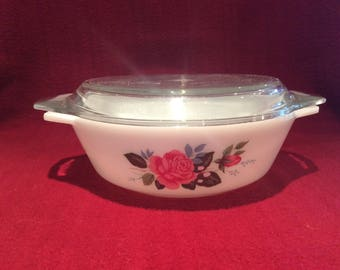 Pyrex JAJ Cottage Rose Casserole Dish 1 pint #505 circa 1970