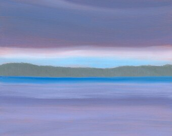 """Small Landscape Oil Painting on Reflective Copper """"Blue Water"""" in a Natural Birch Stand to display on Desk or Shelf"""