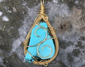 Turquoise Howlite Wire Wrapped Crystal Pendant