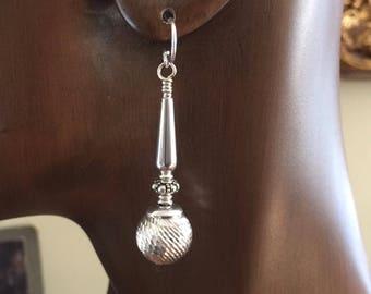 Sterling Silver Bead Styles in Diamond Cut Dangle Earrings by Kate Drew-Wilkinson No5.