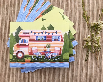 Summer Camper Greeting Cards, Camping Cards, Boxed Set of 8 Cards