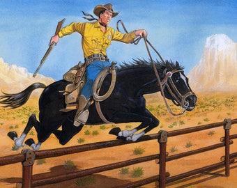 Tex on black stallion and Corral