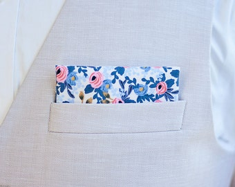 Pocket Square, Pocket Squares, Handkerchief, Mens Pocket Square, Boys Pocket Square, Rifle Paper Co - Rosa In Periwinkle